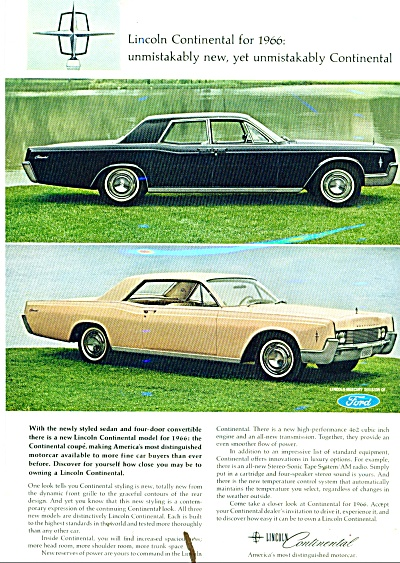 Lincoln Continental ad for 1966 (Image1)