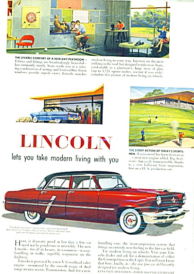 Lincoln automobile ad   1952 (Image1)