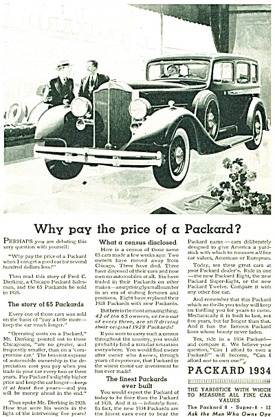 1934 PAKCARD Automobile CAR AD Artwork Excell (Image1)