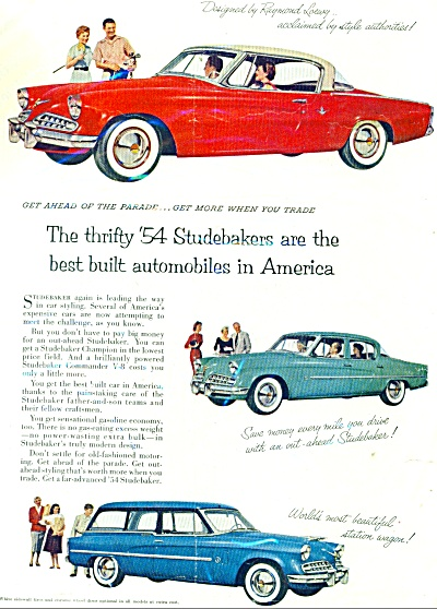 Studebaker automobiles for 1954 ad (Image1)