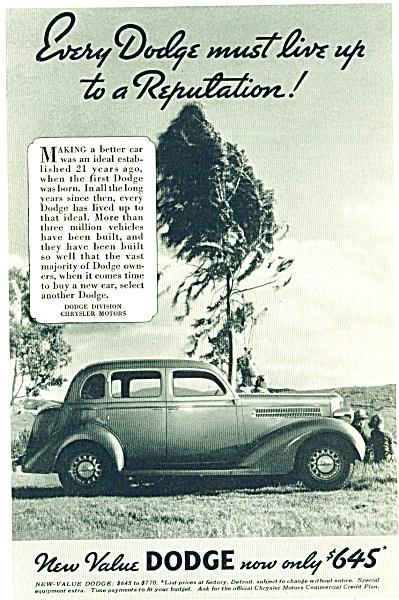 Dodge Automobile ad VINTAGE VALUE CAR (Image1)