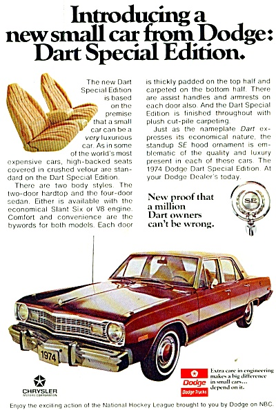 Dodge Dart  auto for 1974 ad (Image1)