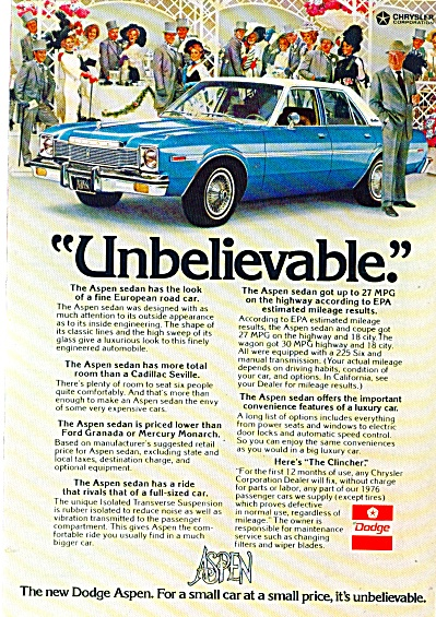 1976 Dodge Aspen K Car AD UNBELIEVABLE (Image1)
