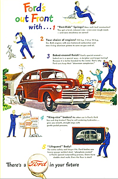 1946 RED FORD CAr AD J.W. ART PROMO Out Front (Image1)