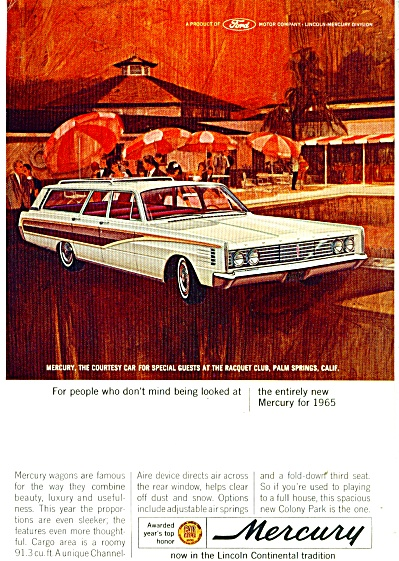 Mercury Automobile For 1965 Ad Racquet Club Palm Spring