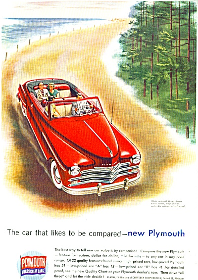Plymouth automobile ad  1949 COOL SNAZZY CAR (Image1)
