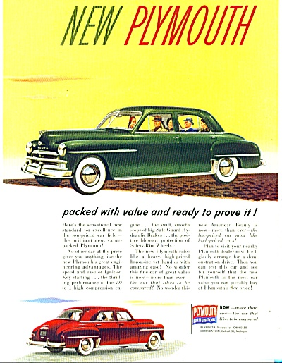 New Plymouth automobile for 1950 ad NEW VALUE (Image1)