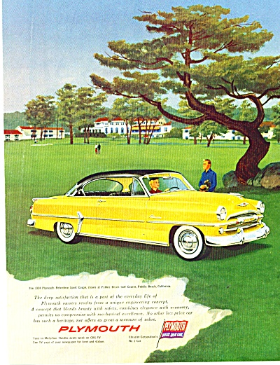 Plymouth Belvedere automobile ad   1954 PEBBLE BEACH (Image1)