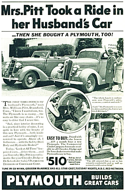 Plymouth automobile ad   - 1936 MRS PITT (Image1)