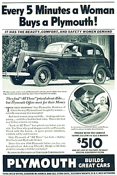 Plymouth Automobile advertising ad   - 1936 WOMAN (Image1)