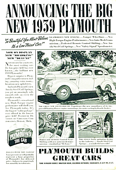 Plymouth Automobile For 1939 Ad Car Cool