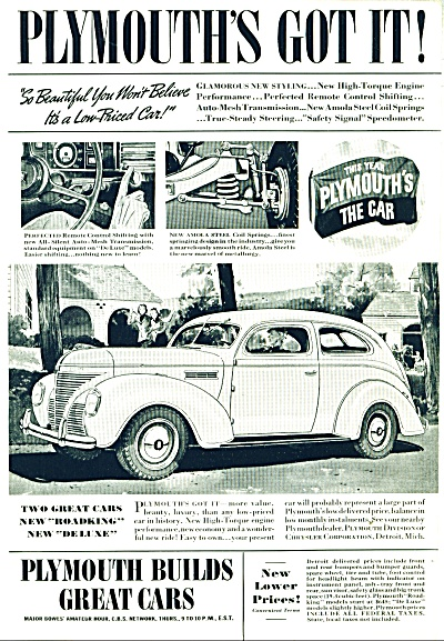 Plymouth Automobile Dated 1938 Ad