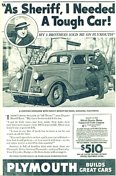 Plymouth 1936 automobile ad SHERIFF PAT ENOS CA (Image1)