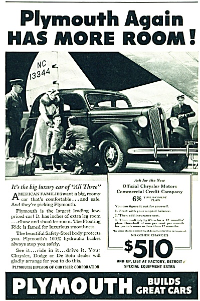 Plymouth automobile  ad 1936  ALL THREE (Image1)