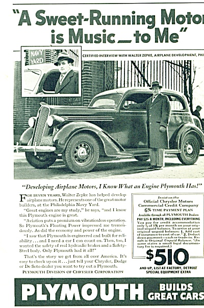 Plymouth automobiles ad   1936 WALTER ZEPKE (Image1)