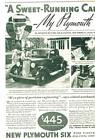 Plymouth Six Automobile Ad George Stevens