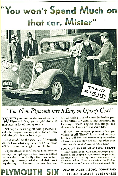 Plymouth Automobile 1935 Ad Several Models