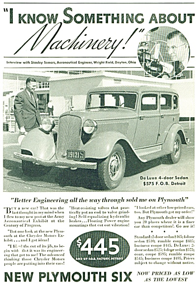 Plymouth Automobile Deluxe Ad Stanley Somers