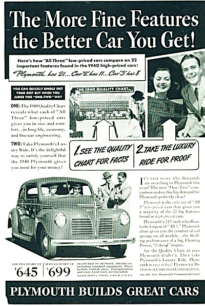Plymouth automobile for 1940 ads 2 ADS (Image1)
