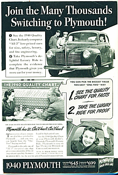 Plymouth Automobile 1940 Ad