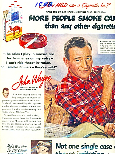 1951  Camels ad - JOHN WAYNE PICTURE - ad (Image1)