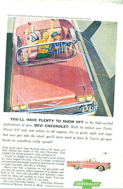 1958 Chevrolet Chevy Car Ad Pink Impala