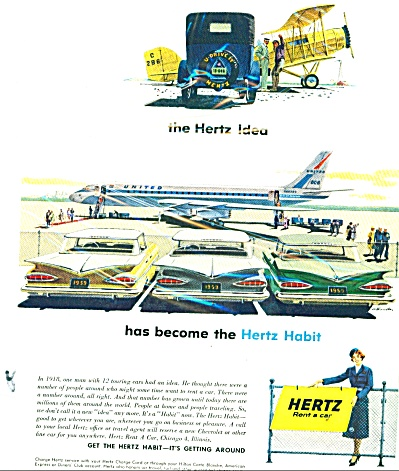 1959 Hertz Rent a Car AD Cool Artwork (Image1)