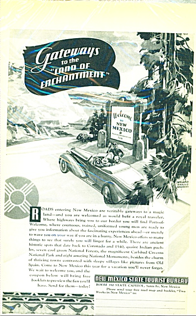 1937 New Mexico AD WILLARD ANDREWS ART (Image1)