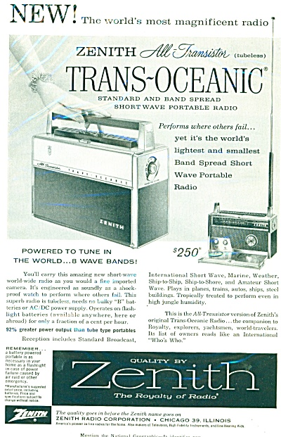 1958 Zenith RADIO Tubless Trans Oceanic AD (Image1)
