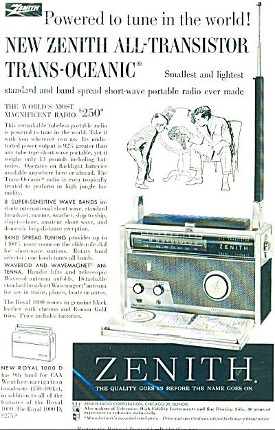 1958 ZENITH RADIO Transister Royal 1000D AD (Image1)