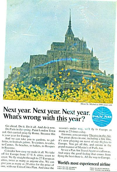 1966 Pan Am airlines ad   Mont St. Michel (Image1)