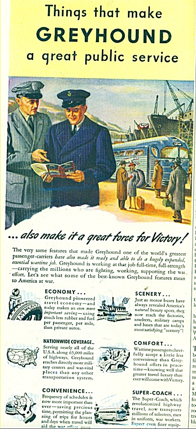1943 Greyhound BUS Lines Travel AD VICTORY (Image1)