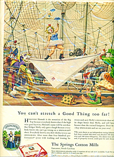 1951 Springs Cotton Mills ad CIRCUS ARTWORK (Image1)