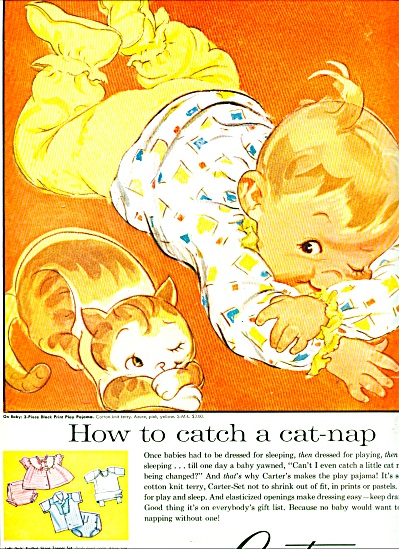 1959 Carter's baby clothes AD CAT NAP ART (Image1)