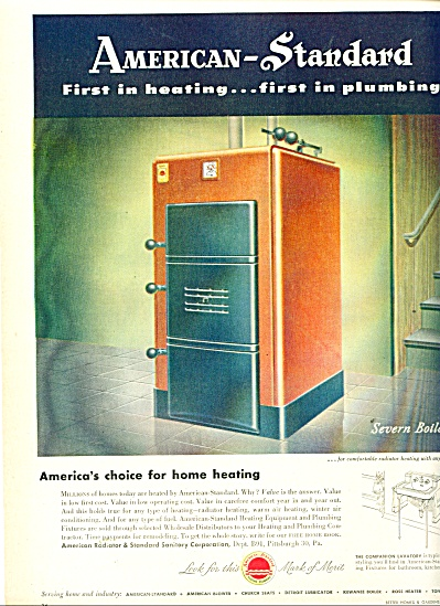 American Standard heating & Plumbing ad  1949 (Image1)