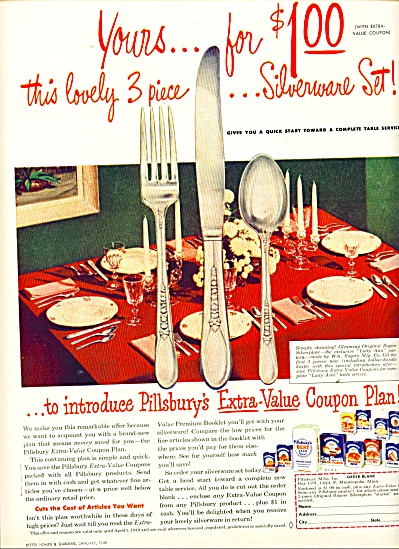 Pillsbury silverware set  sale ad  - 1949 (Image1)