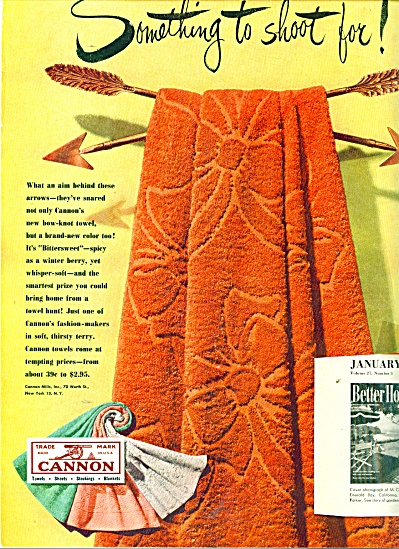Cannon towels ad  - 1949 BITTERSWEET TOWLS (Image1)
