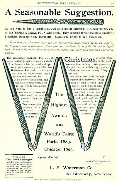 1893 L. E. Waterman FOUNTAIN PENS AD (Image1)