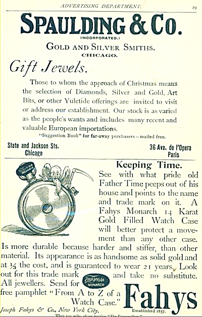 1893 Spaulding Co - FAHYS Gold WATCH COVER AD (Image1)