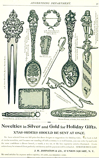1893 J. H. Johnston SILVER GIFTS AD Brooch Ha (Image1)
