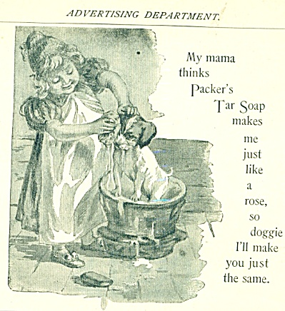 1893 PACKER'S TAR SOAP AD Girl Bathing DOG (Image1)