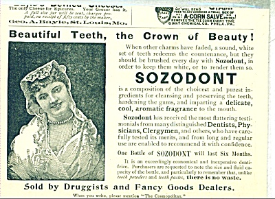 1893 SOZODONT for TEETH AD TOOTHPASTE Tooth (Image1)