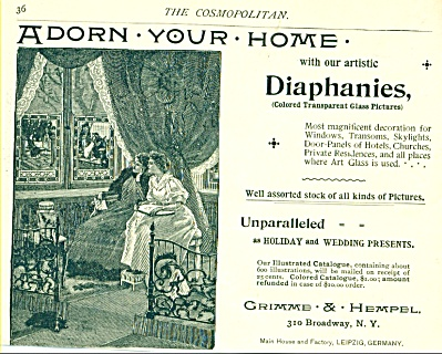 1893 Diaphanies GLASS PICTURES AD Grimms Hemp (Image1)