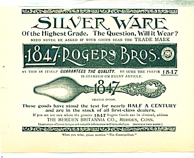 Roger Bros Silverware   1893 Ad Orange Spoon (Image1)