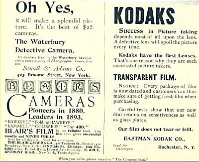 Blair's Film and Eastman Kodak Co. ad   1893 (Image1)