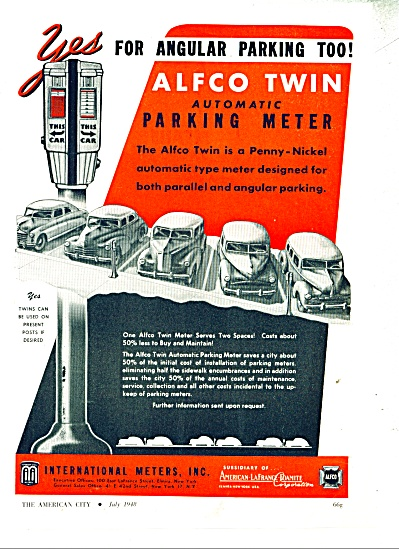 Alfco Twin parking meters ad  - 1948 (Image1)