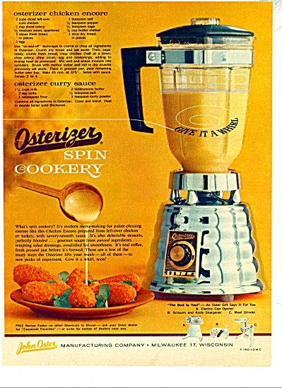 Osterizer spin cookery ad - 1962 (Image1)