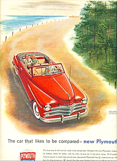vintage Plymouth automobile ad CAR Red Convertible (Image1)