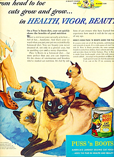 Puss 'n Boots  cat food ad SEAL POINT SIAMESE (Image1)