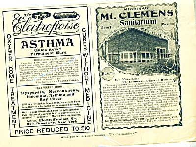 1897 Mt. Clemens Michigan Sanitorium AD (Image1)